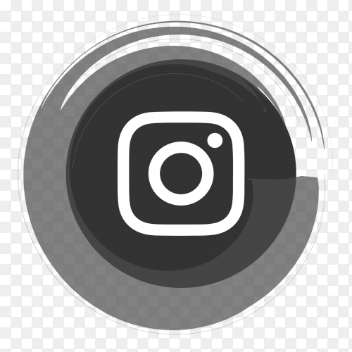 Instagram black and white logo on transparent PNG