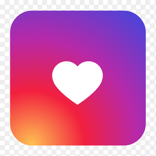 Instagram logo with heart shaped vector PNG