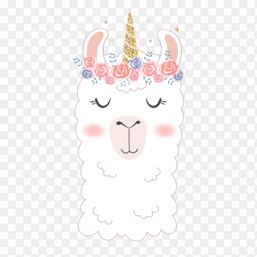Interest Print Llama in Unicorn vector PNG