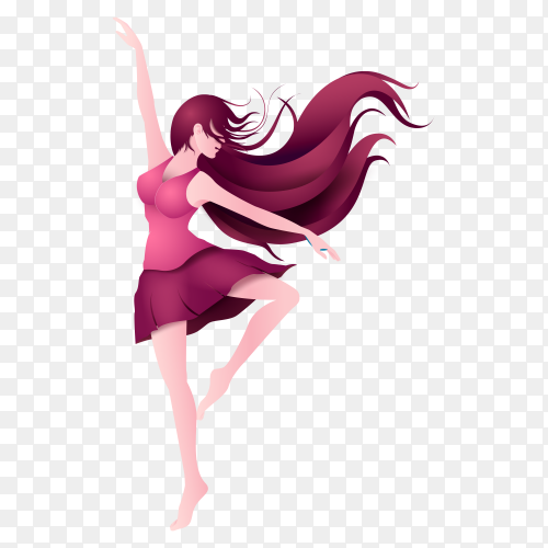 International dancer girl cartoon vector PNG