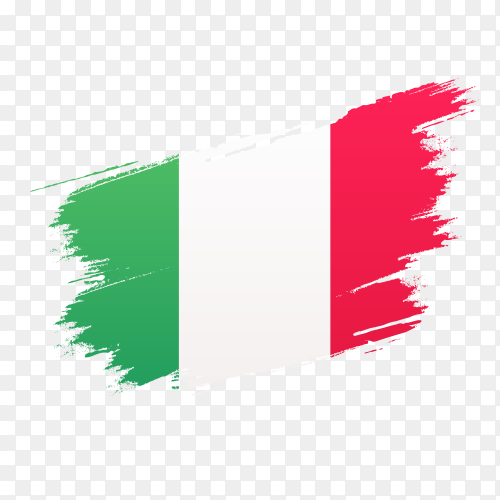 Italian Flag drawn with water colors vector PNG