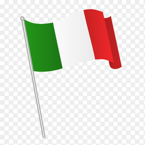 Italy flag waving on transparent background PNG