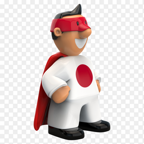 Japan flag shaped on super hero on transparent background PNG