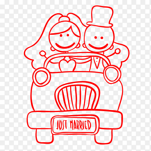 Just married couple in wedding car vector PNG