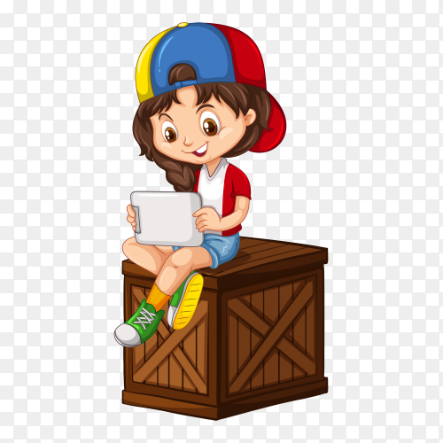 Kid boy using the computer cartoon vector PNG