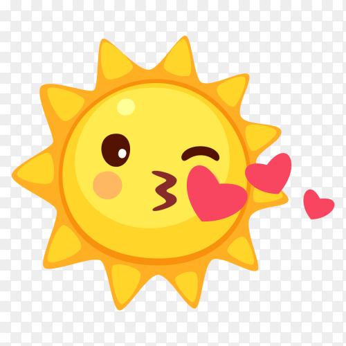 Kissing sun emoji vector PNG