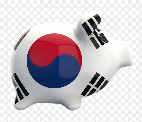 Korean flag shaped on piggy bank vector PNG