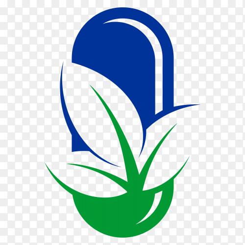 Leaf capsule logo on transparent background PNG
