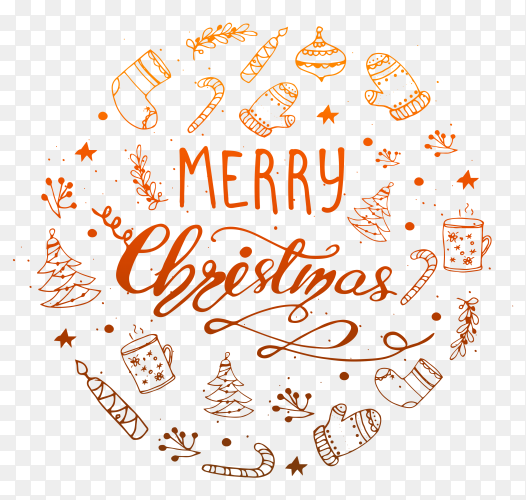 Lettering Merry Christmas illustration clipart PNG