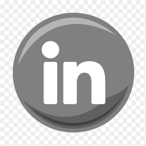 Linked in grey logo vector PNG