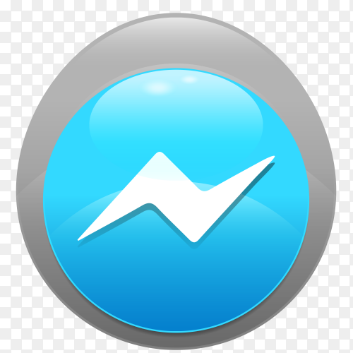 Logo Messenger realistic button  vector PNG