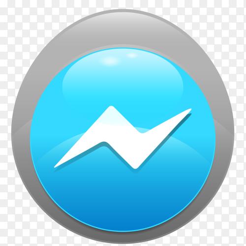 Logo Messenger realistic button PNG