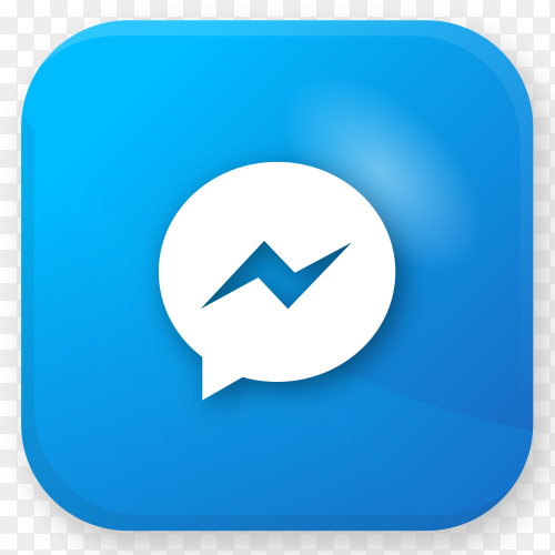 Logo Messenger realistic icon on transparent PNG