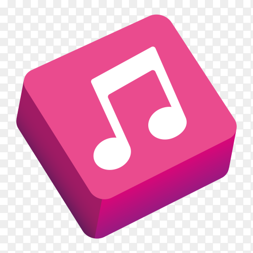 Logo music 3D icon on transparent background PNG