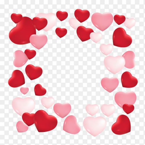 Lovely frame with hearts for valentine's day vector PNG