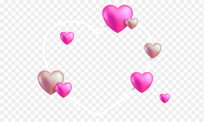 Lovely hearts on transparent background PNG