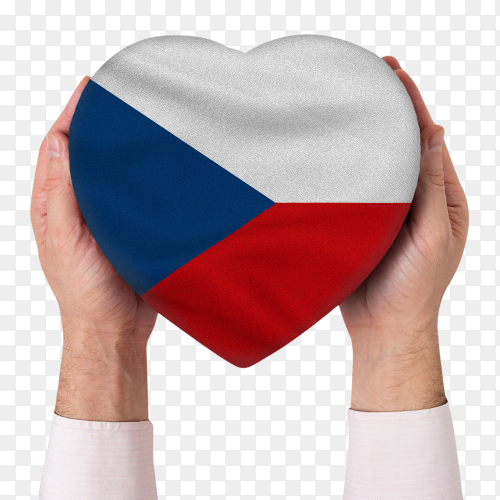 Male hands holding Czech republic flag with heart shape on transparent PNG