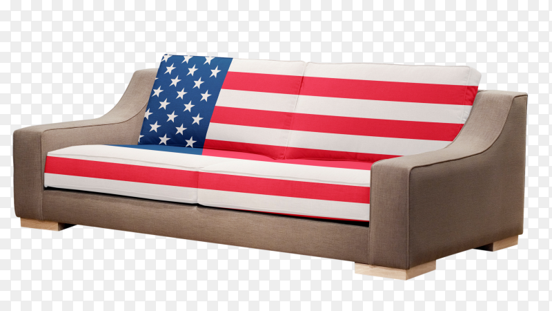 Modern sofa with usa flag vector PNG