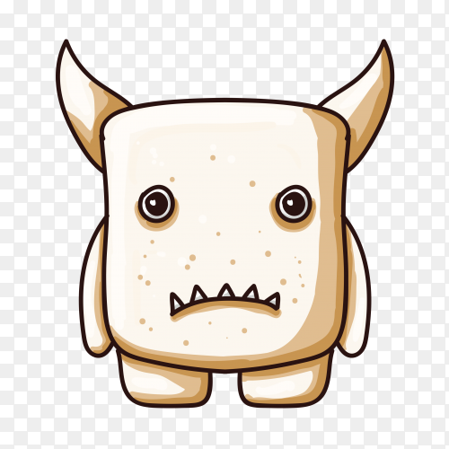 Monster character with big horns hand drawn on transparent PNG