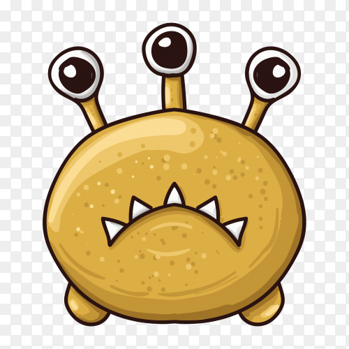 Monster character with three eyes hand drawn on transparent PNG