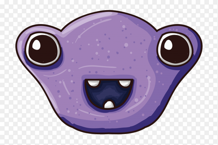 Monster character with wide eyes on transparent PNG