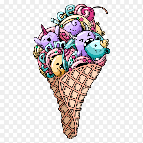Monsters in ice cream shape with transparent background PNG