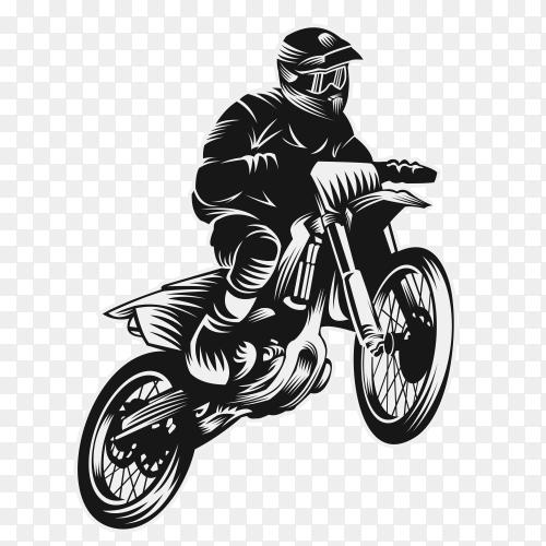 Motocross sport challenge vector illustration with transparent PNG