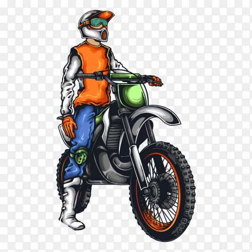 Motocross waver with helmet sunset on transparent background PNG