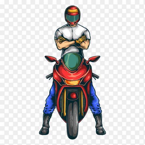 Motorcycle sport club illustration with wings on transparent background PNG