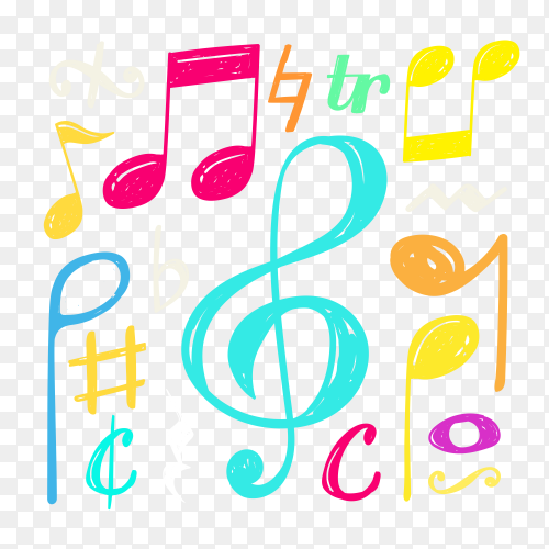 Music note doodle background on transparent PNG