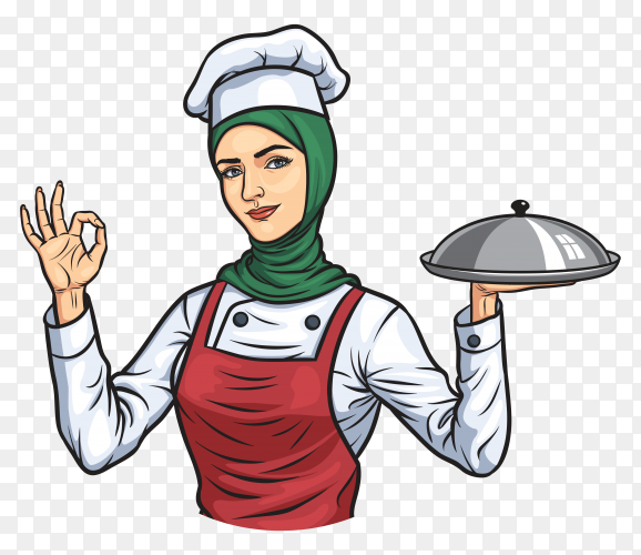 Muslim female chef with hijab Vector PNG