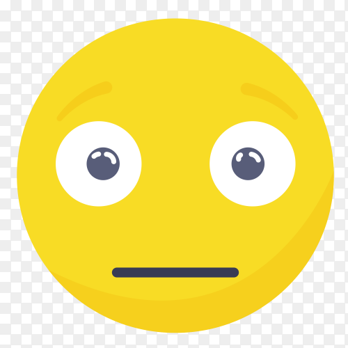 Neutral emoji face on transparent background PNG
