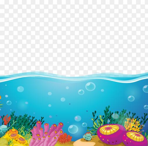 Ocean cartoon on transparent background PNG