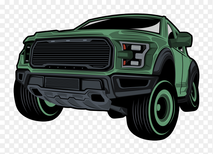 Off road challenging natural vector car illustrations with transparent PNG
