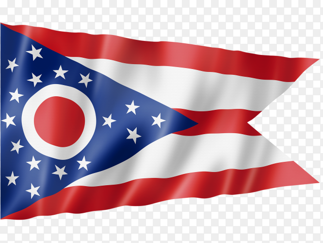 Ohio flag waving on transparent background PNG