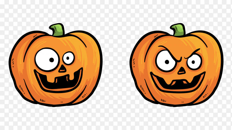 Pack of tow halloween pumpkins with funny faces clipart PNG