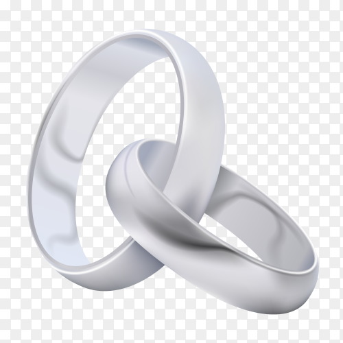 Pair of silver wedding ring vector PNG