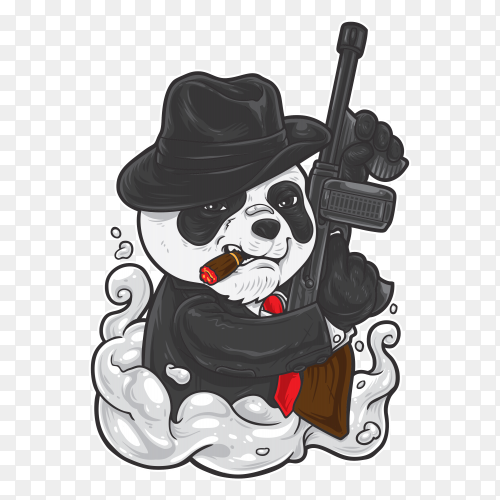 Panda Mafia Hand drawing vector PNG