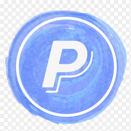 Paypal icon watercolor vector PNG