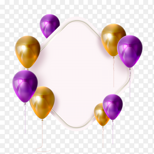 Purple and gold balloon banner vector PNG