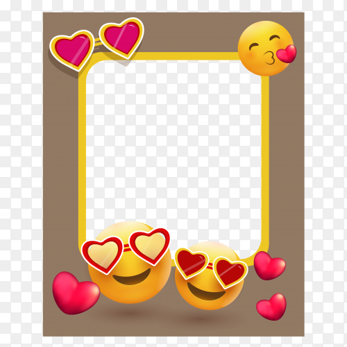 Picture photo frame with different emoji forms of heart vector PNG