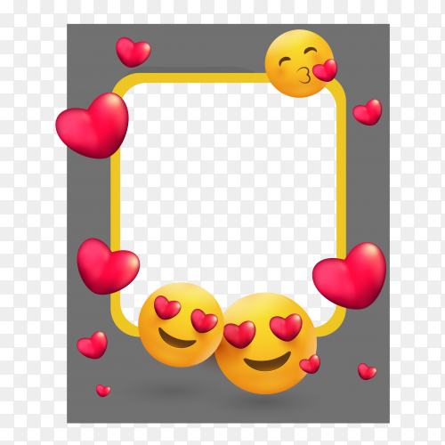 Picture photo frame with different emoji on transparent PNG