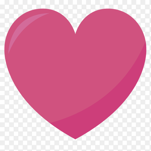 Pink heart on transparent PNG