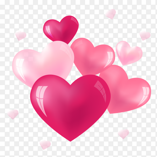 Pink heart with fully love expressions on Transparent PNG