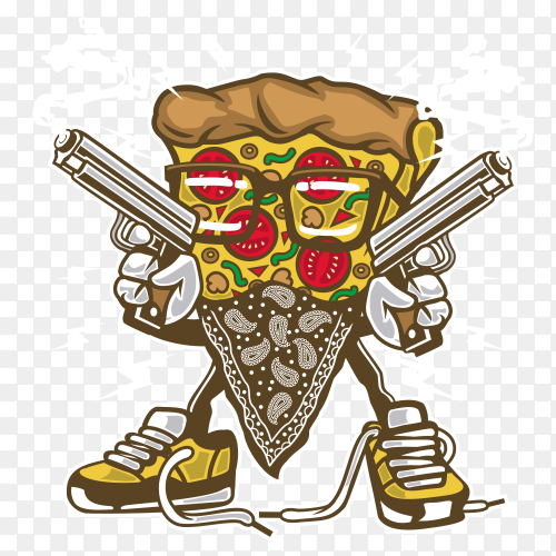 Pizza Gangster on transparent background PNG