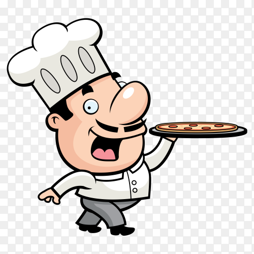 Pizza chef carrying a tasty order Premium vector PNG