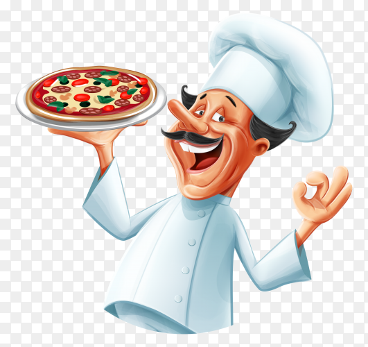 Pizza chef smiling and happy vector PNG