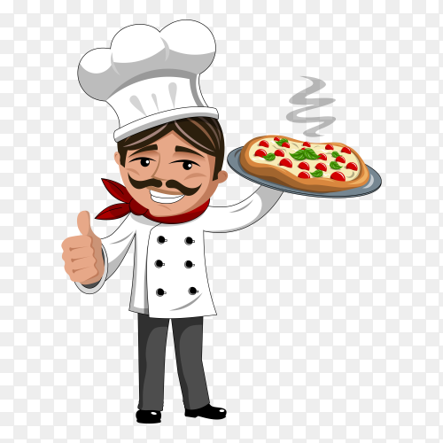 Pizza chef smiling with thumbs up vector PNG