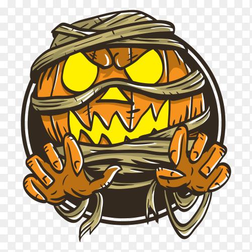 Pumpkin halloween mummy monster illustration vector PNG