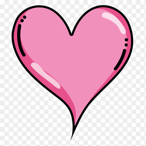 Pink Heart on transparent background PNG